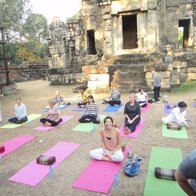 Yoga At The Temple Steps, Angkor Krau, Cambodia