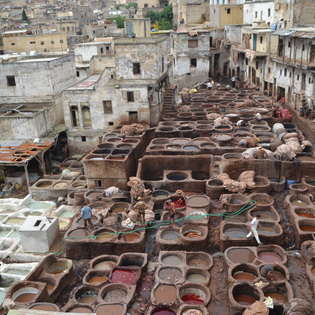 Tanneries in Fez, Fes, Morocco