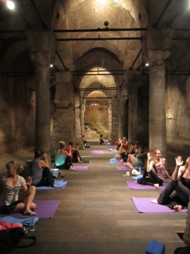 Yoga in The Underground Cistern , Istanbul, Turkey