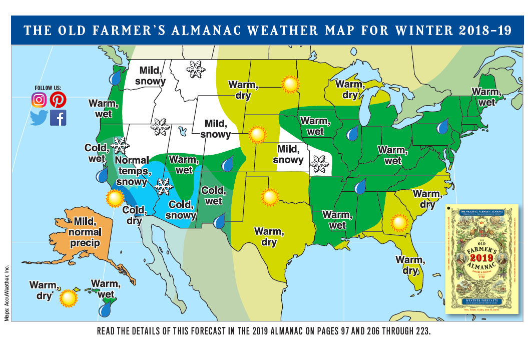 The Old Farmer's Almanac and the NOAA Predict a Warm Winter in 2019