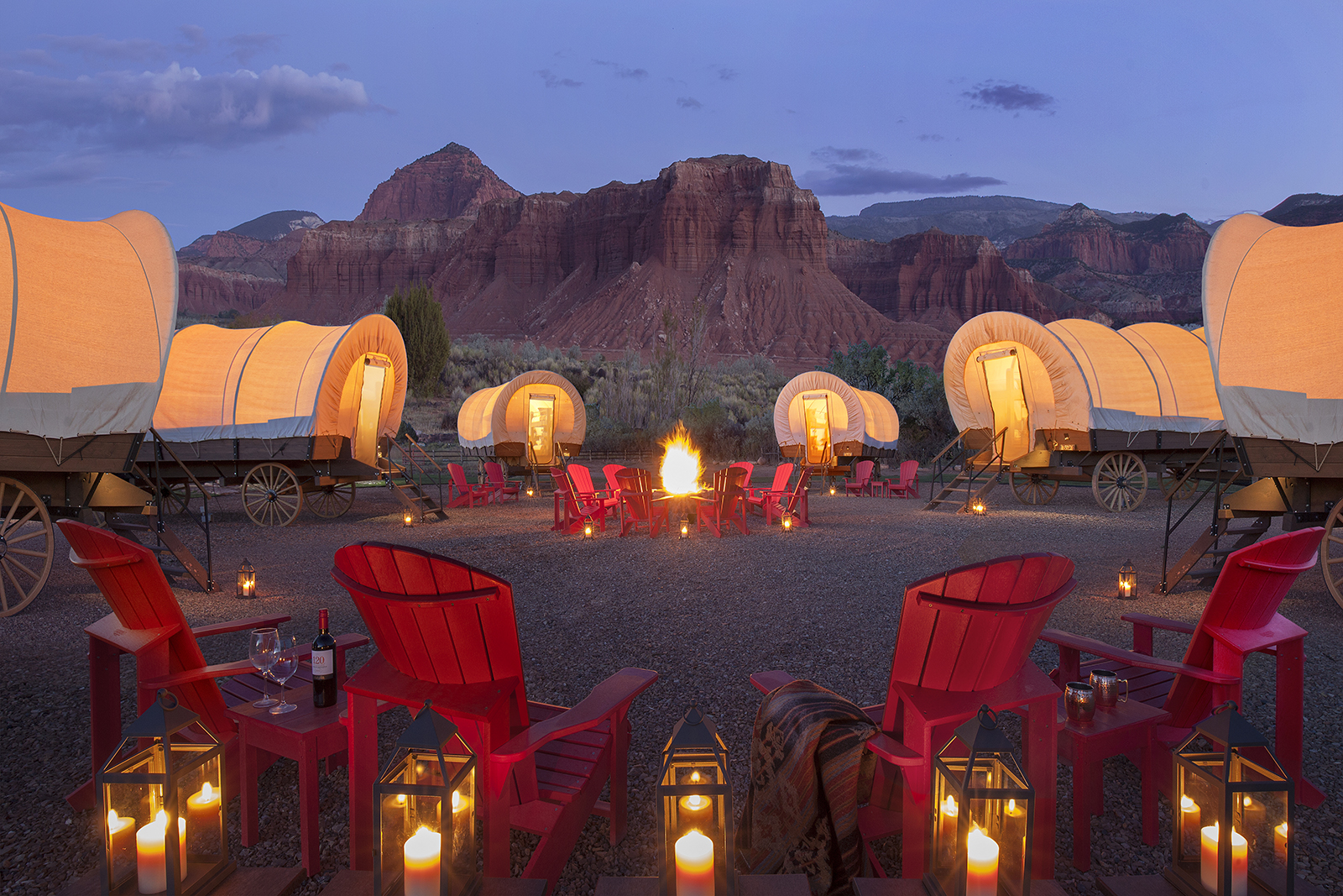 In addition to its standard guest rooms and suites, Capitol Reef Resort offers cabins, tepees, and Conestoga wagons.