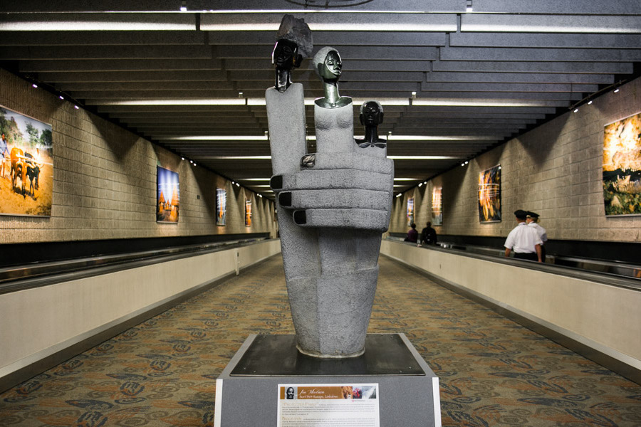 An example of some of the artwork on display throughout the Atlanta airport.